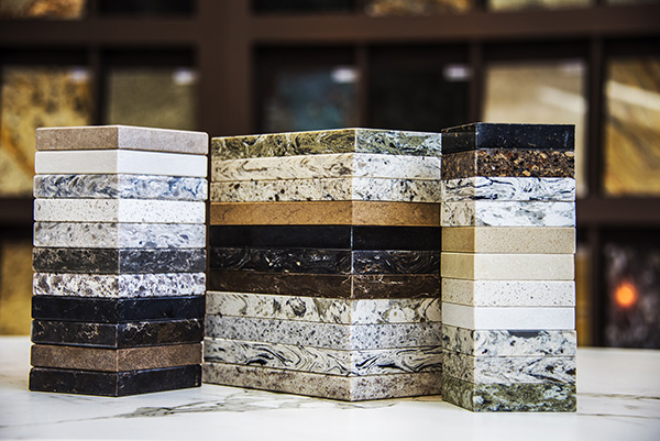 Stacks of marble and granite stone color samples